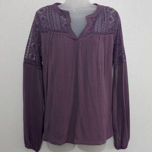 HARLOWE&GRAHAM Lace Shoulder Peasant Sleeve Blouse